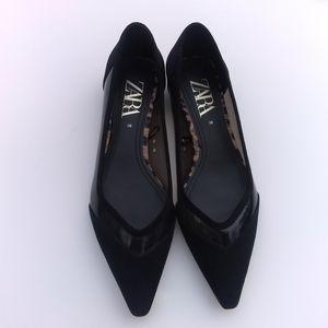 Zara Clear Vinyl BALLERINA FLATS Pointy Toe Sz 38